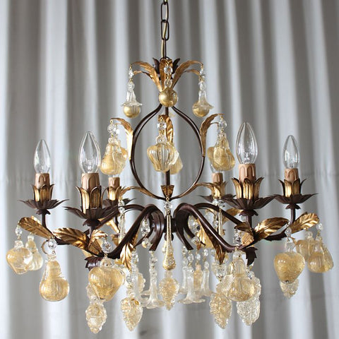 Brown metal chandelier with Murano crystal and gold glass fruits