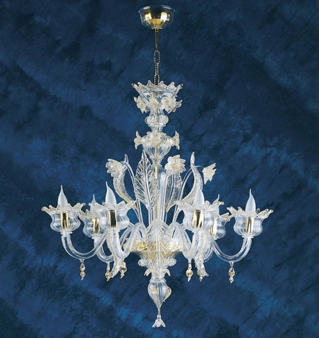 Clear Murano glass 6  arm chandelier with gold accents