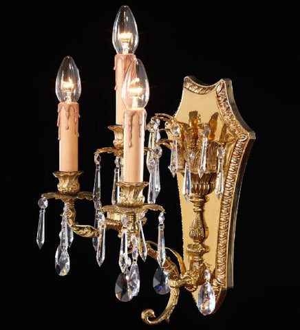 Triple French Gold Wall Light