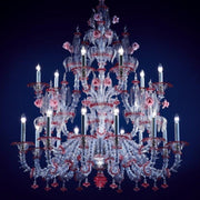 Transparent and red glass Rezzonico chandelier