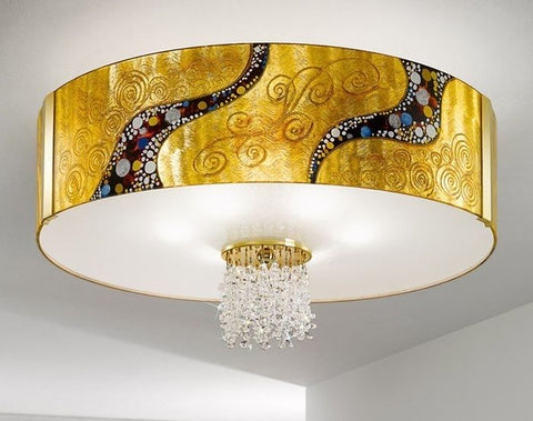 Gold-plated flush ceiling light with Austrian crystals