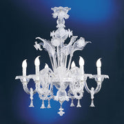 6 light clear Murano glass chandelier with pretty pendants