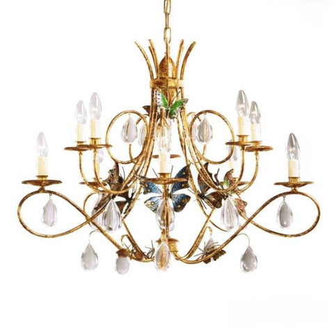 Dark Gold Metal Chandelier with Glass Crystals & Butterflies