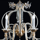 Decorative 6 light chandelier with Murano glass beads