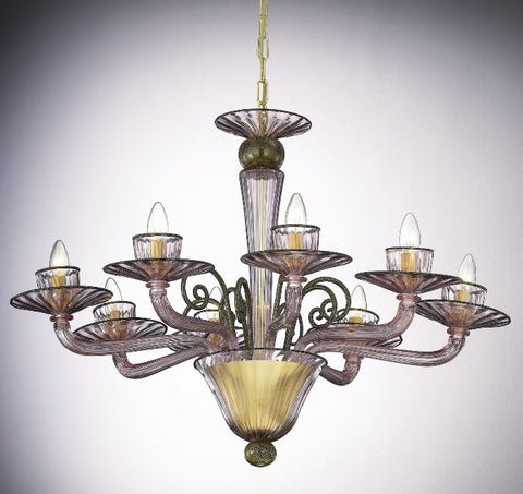 8 light amethyst and gold Murano glass chandelier