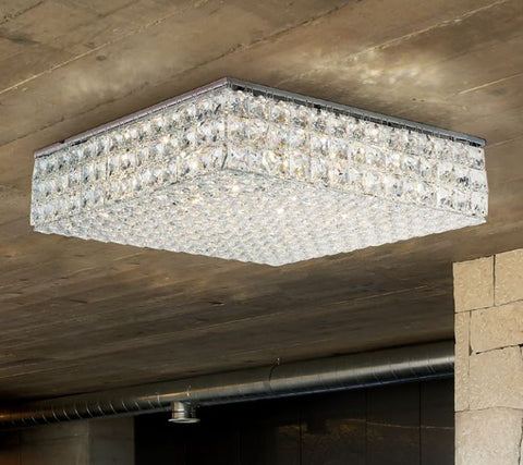 30% lead crystal flush light with gold or chrome frame