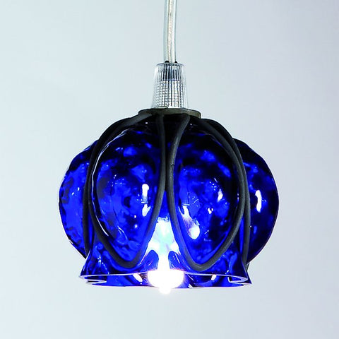 Small cobalt blue Murano glass 'baloton' ceiling pendant