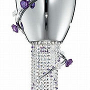 Chrome light with violet Murano roses & Swarovski crystals