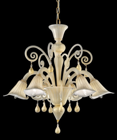 Creamy White and gold Murano Chandelier