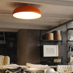 Glossy modern flush ceiling light in 5 great metal colours