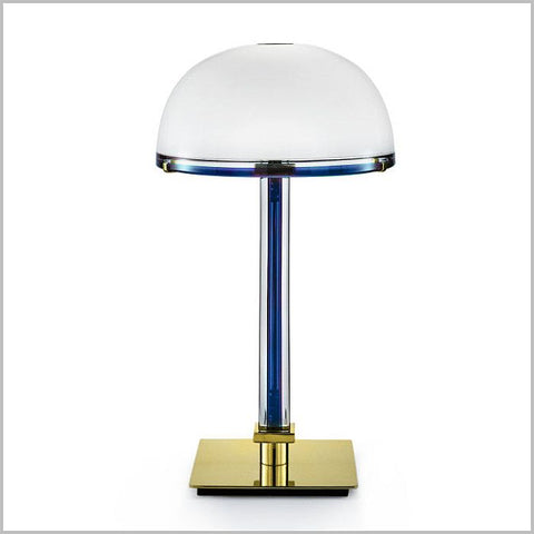 Belboi art deco style table lamp from Venini with colour trim
