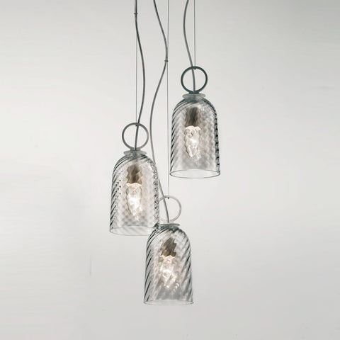 Modern triple cluster pendant light in clear or amber Murano glass