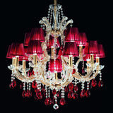 Gold Plated Crystal Glass Chandelier with Red Organza Shades