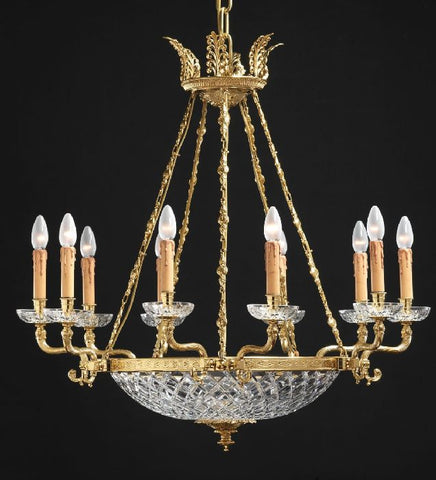10 light French gold bowl chandelier