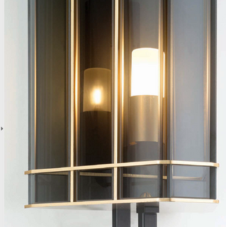 30 cm luxury smoked glass wall light with gold detail [1227]