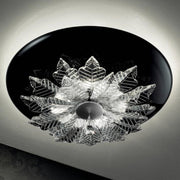 Modern black & clear Italian glass ceiling light fitting