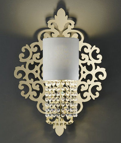 Swarovski crystal wall light on a decorative gilded brass plate