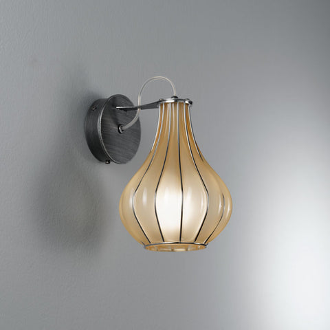 Elegant modern handblown wall lantern in 3 lovely Murano glass finishes