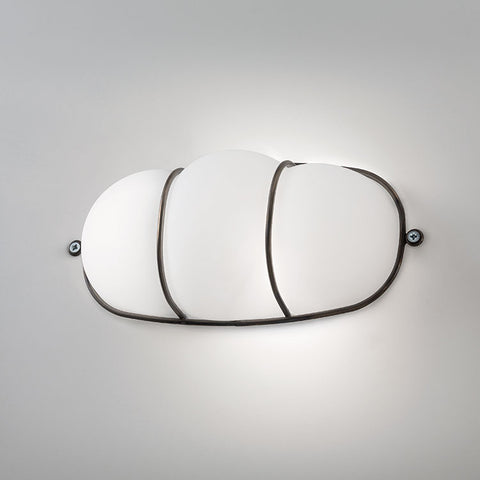 modern oval bulkhead-style wall light in white Murano glass
