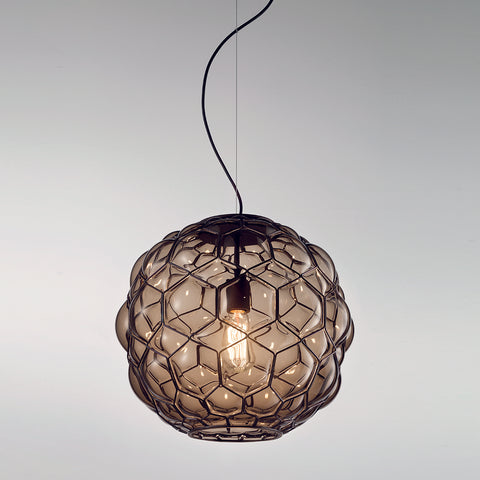 Stunning grey or amber Murano glass pendant light, 38 cm in diameter