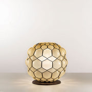 Stunning amber or grey Murano glass table lamp, 38 cm in diameter