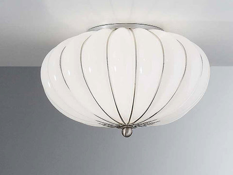 Elegant white blown Murano glass ceiling light, 29cm in diameter