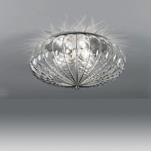 Clear Venetian flush ceiling light in balloton glass in 3 sizes
