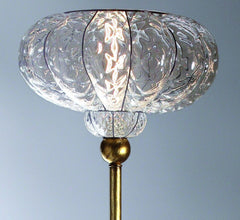 Clear Venetian balloton glass floor lamp with gold leaf base