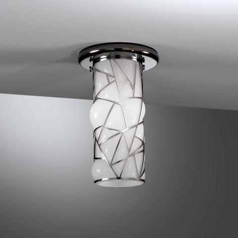 Gorgeous modern milky white Murano glass flush ceiling light