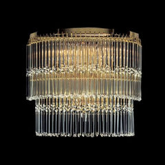 Round gold ceiling light with clear glass rods