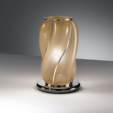 Lovely small contemporary Venetian table lamp with satin amber interior