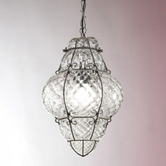 Beautiful lantern style ceiling pendant in 4 lovely Murano glass finishes