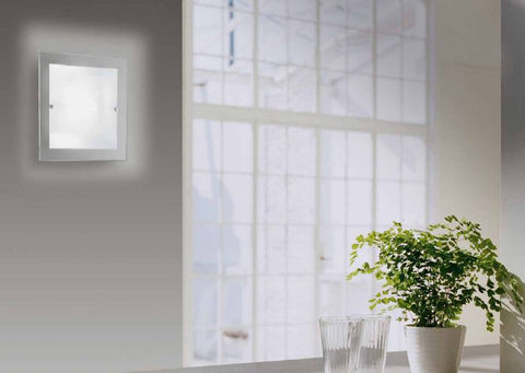 Large silkscreened glass wall light by Micron