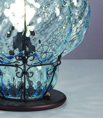 Classic Venetian baloton glass table lamp  in clear, aqua, or amber glass finishes