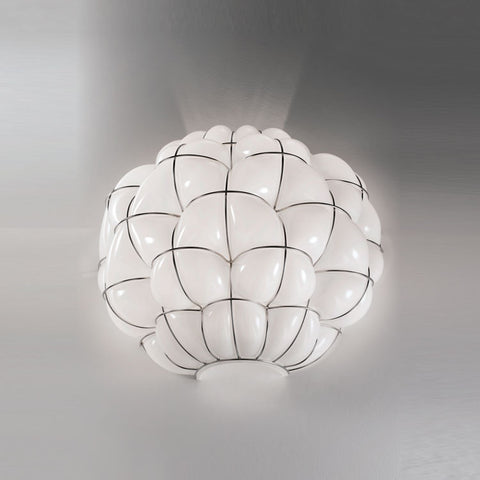 40 cm milky white or clear handblown Murano glass wall light
