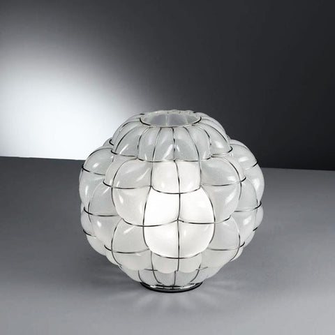 Modern milky-white or clear Murano glass table lamp with wire frame