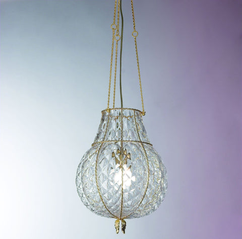 Clear Venetian balloton crystal and gold ceiling pendant