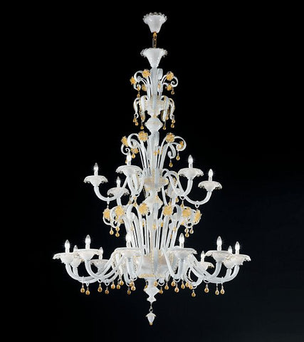 Milky white and gold Murano glass 18 light chandelier