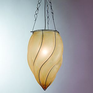 Venetian ceiling light with amber scavo glass diffuser
