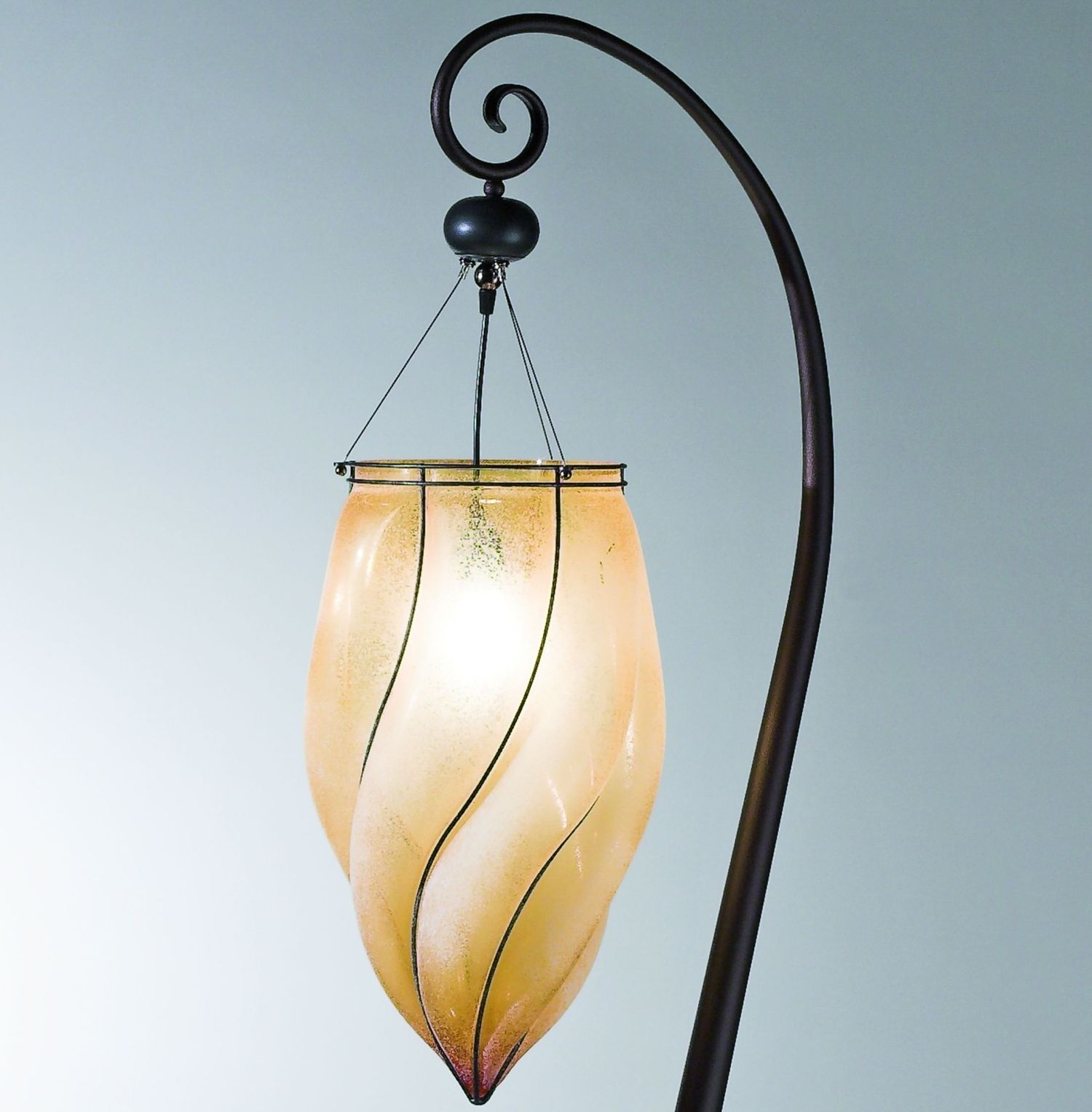 Rustic Venetian floor light with handblown amber scavo glass diffuser