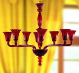 Red art deco style glass chandelier