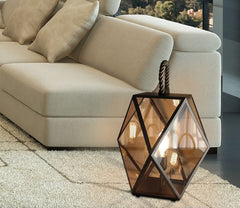Large high-end Italian bronze  floor lantern with amber acrylic diffuser