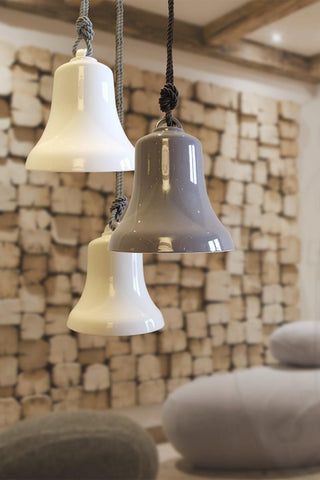High-end white or grey ceramic bell-shaped pendant light from Italy with braided rope