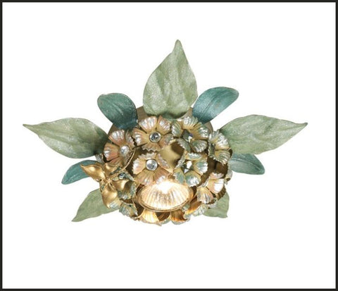 Gold & Green Metal Ceiling Light with Swarovski Elements