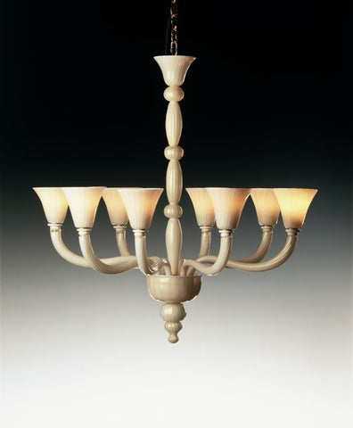 Handblown milk white 8 light Murano glass chandelier