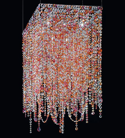Modern pink and amber Murano glass 8 light pendant chandelier