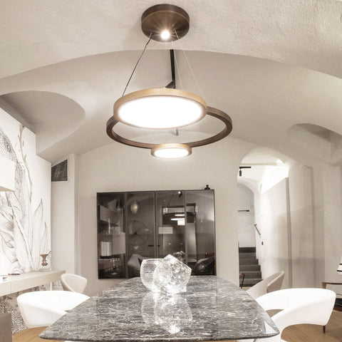 Large modern rustic style suspended ceiling light from Italy with bronze metal frame