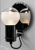 Deluxe modern wall light with frosted glass diffuser and choice of metal finish