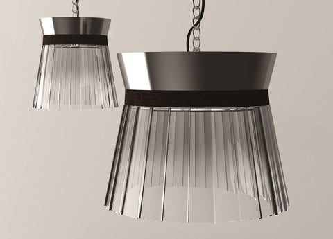 "Nickel or bronze pleated glass pendant light in 2 sizes with coloured leather ""belt"""