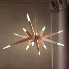 Modern white painted wood LED ceiling light from Italy
